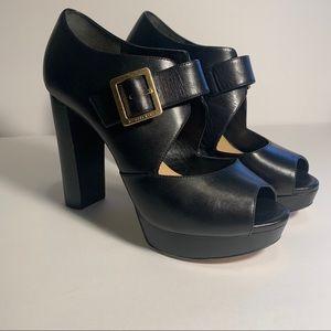 Michael Kors Eleni black leather heels sz 7.5 euc